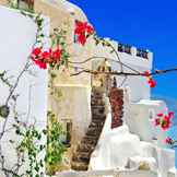 伊亚小镇建立在圣托里尼岛的悬崖上,小镇房屋依山而建,错落有致。